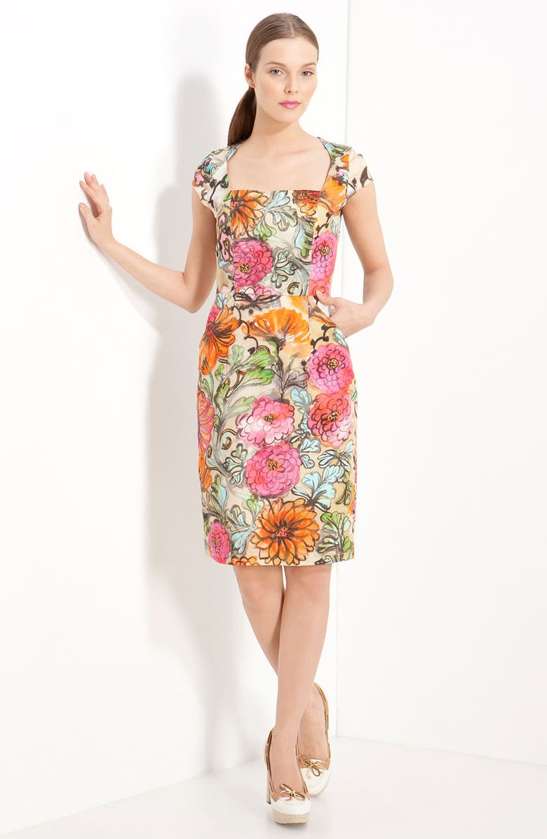 MILLY 'Francesca' Garden Print Dress, Main, color, 650