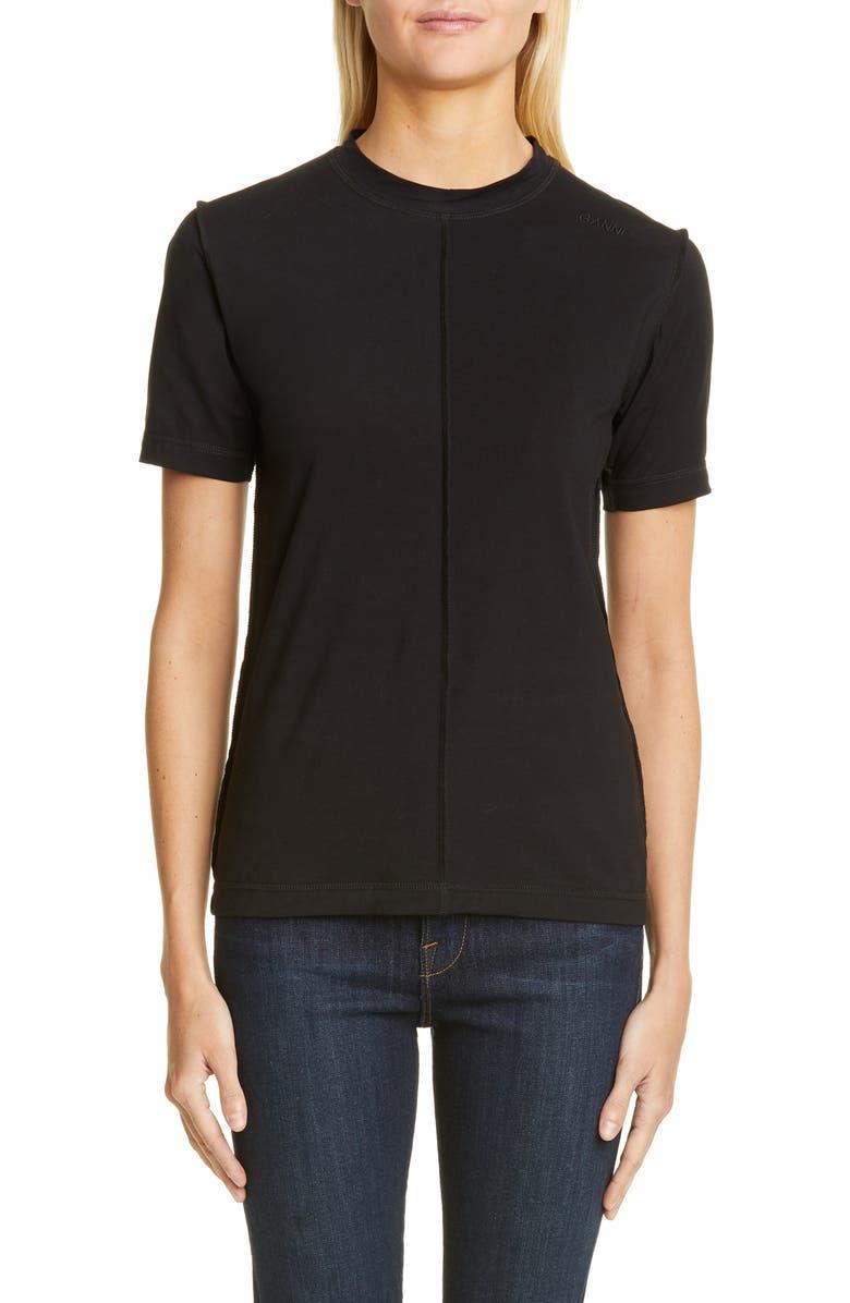 GANNI Lightweight Jersey Tee, Main, color, BLACK
