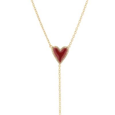 Adornia Enamel Heart & Diamond Y-Necklace