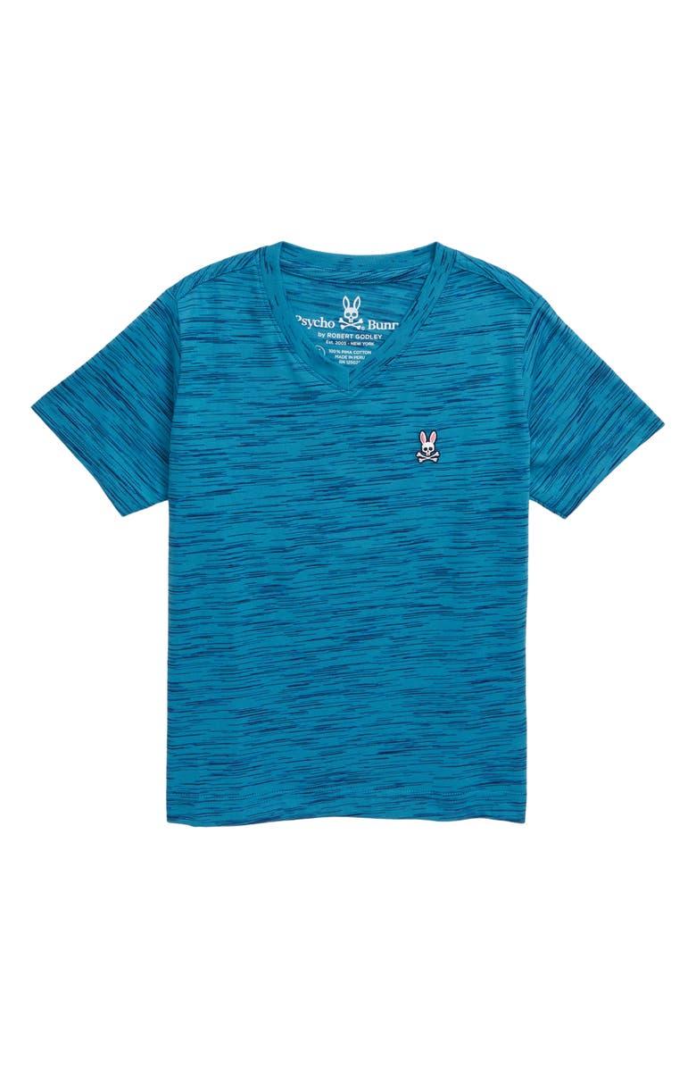 PSYCHO BUNNY Classic V-Neck T-Shirt, Main, color, HEATHER NAVAGIO