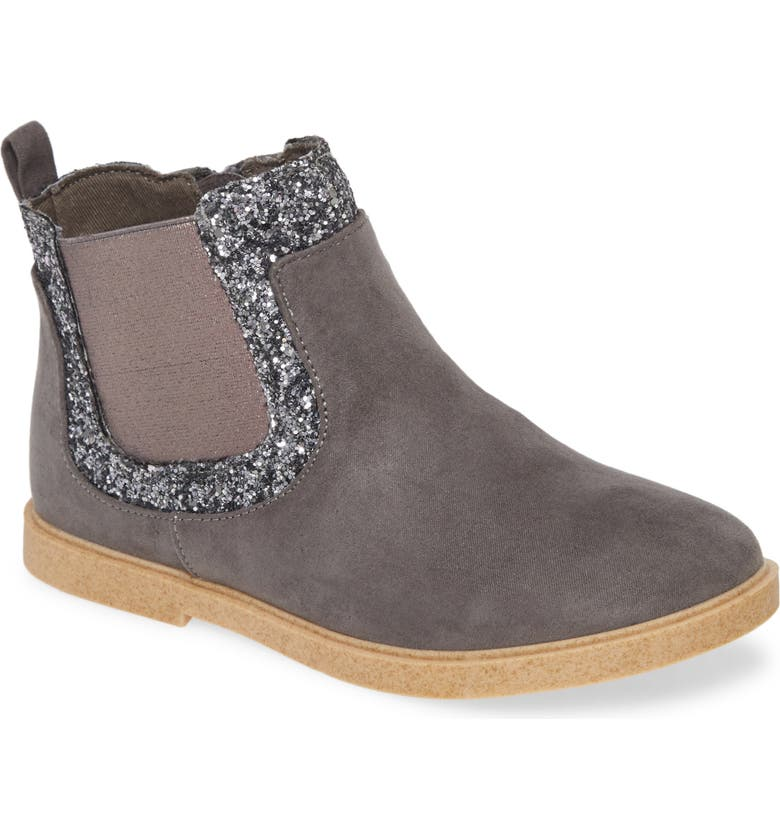 TUCKER + TATE Edna Fab Glitter Bootie, Main, color, CHARCOAL FAUX SUEDE