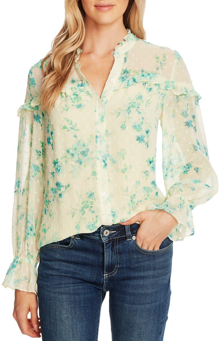 CECE Breezy Bouquet Clip Dot Long Sleeve Blouse, Main, color, LEMONADE