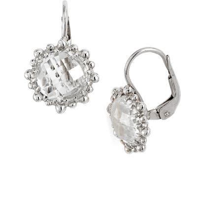 Anzie Dew Drop Snowflake White Topaz Drop Earrings