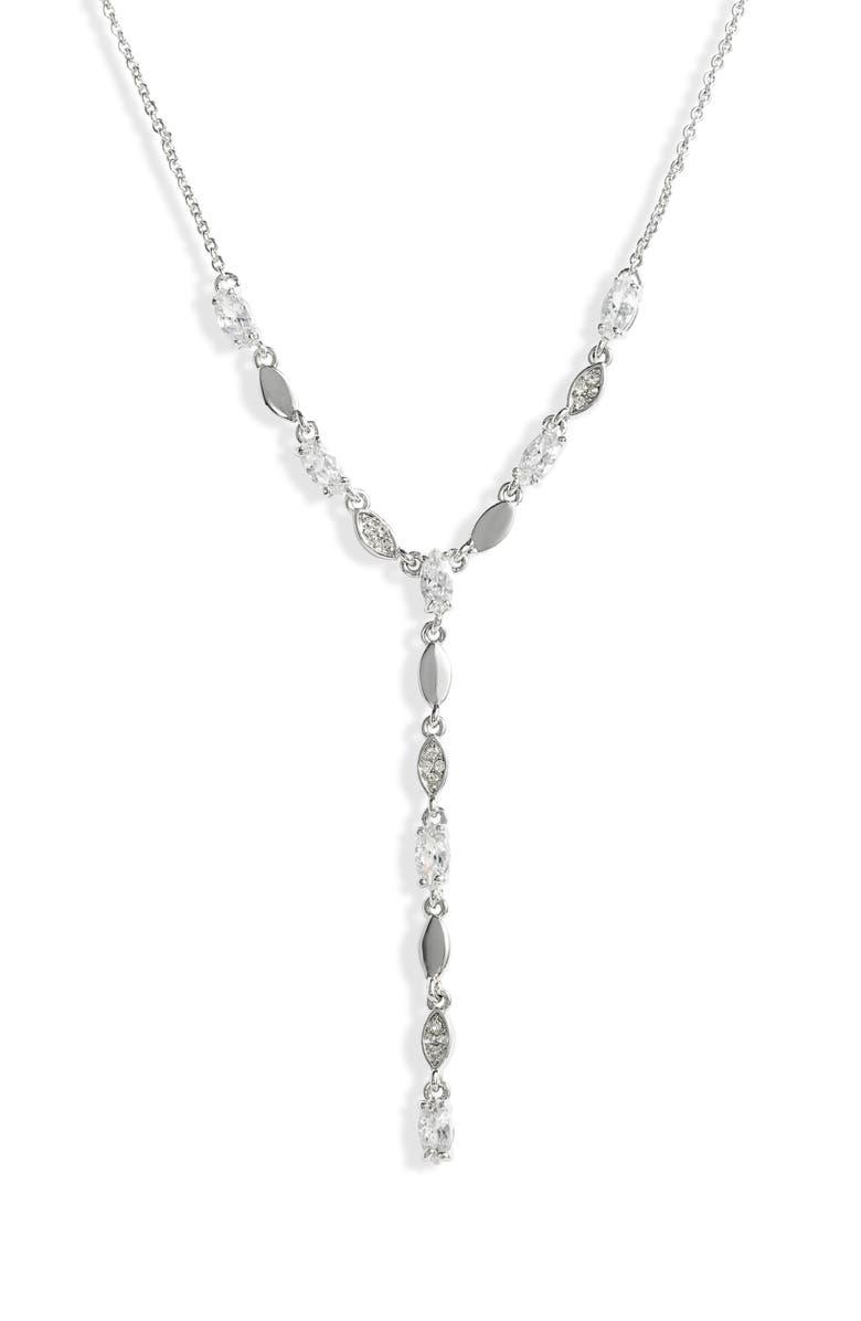NORDSTROM Cubic Zirconia Y-Necklace, Main, color, 040