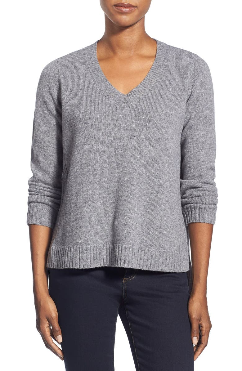 EILEEN FISHER Boxy Wool V-Neck Top, Main, color, 032