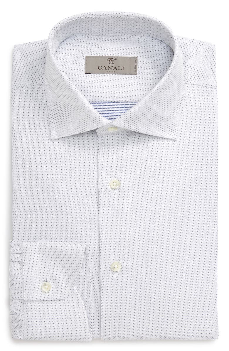 CANALI Regular Fit Dot Dress Shirt, Main, color, WHITE