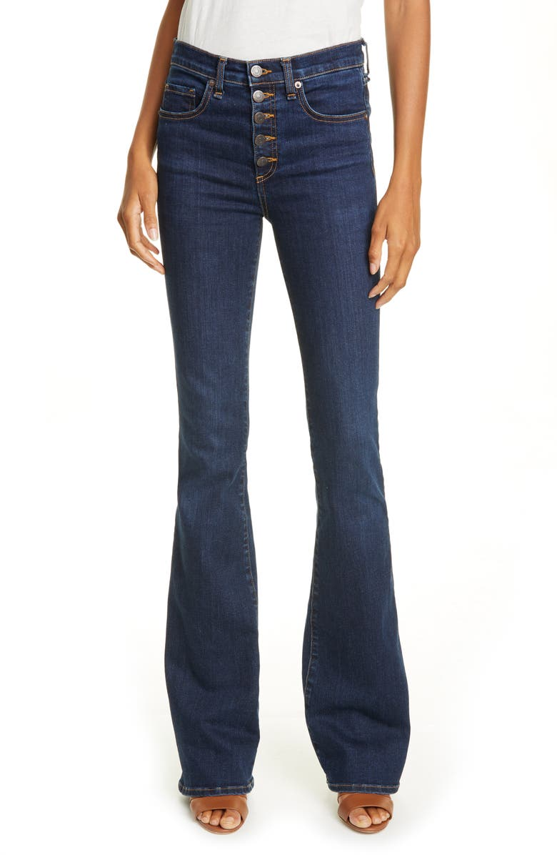 VERONICA BEARD High Waist Flare Jeans, Main, color, PRUSSIAN BLUE