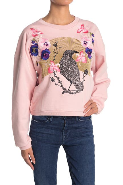Image of 7 For All Mankind Raven Graphic Crew Neck Sweatshirt