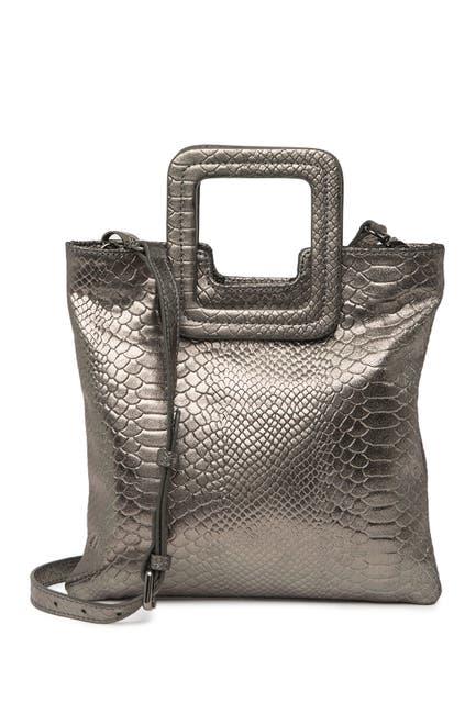 Image of TMRW STUDIO Mateo Metallic Snakeskin Embossed Foldover Clutch