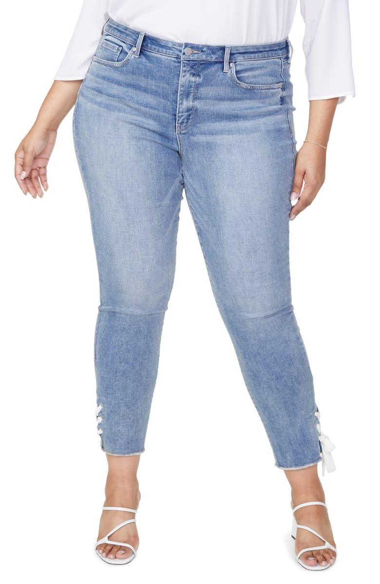 NYDJ Sheri Lace Up High Waist Ankle Skinny Jeans, Main, color, COHEED
