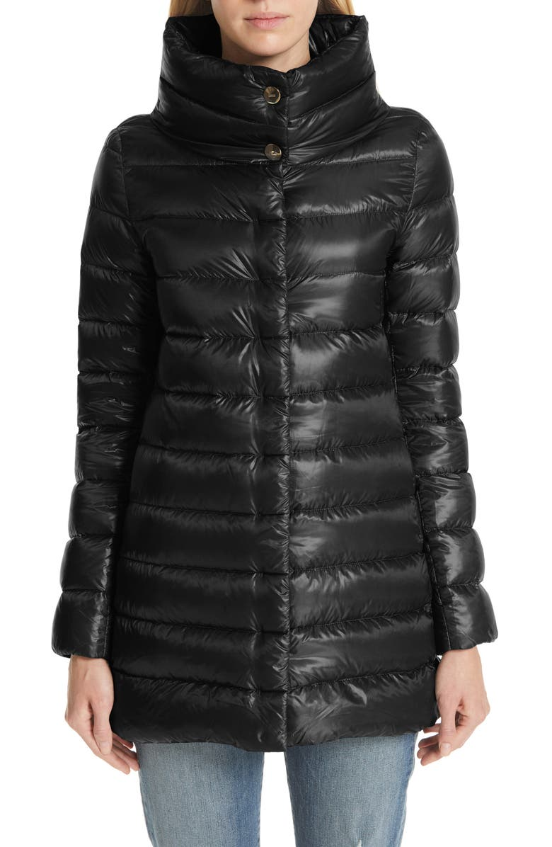 HERNO Amelia High/Low Down Jacket, Main, color, BLACK