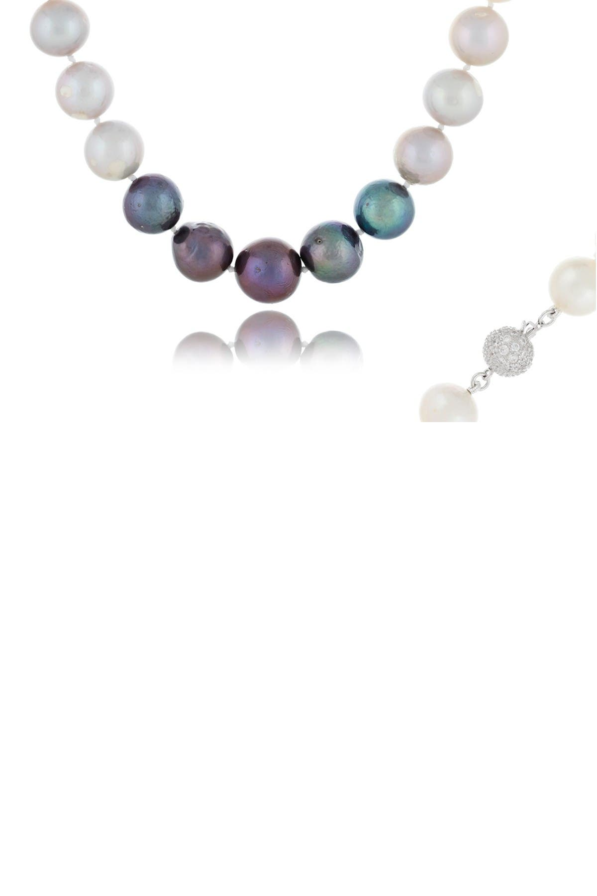 Image of Splendid Pearls Sterling Silver 11-14mm Ombre Freshwater Pearl Necklace
