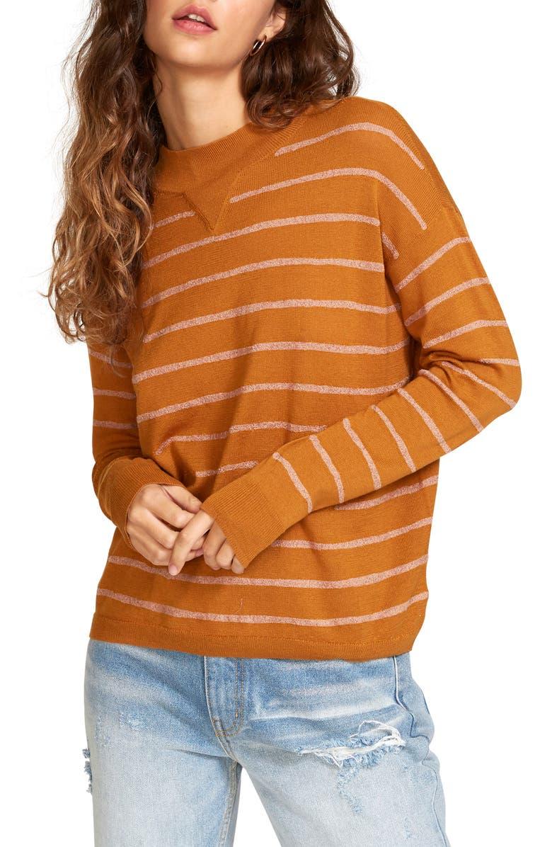 RVCA Tristan Stripe Sweater, Main, color, CATHAY SPICE