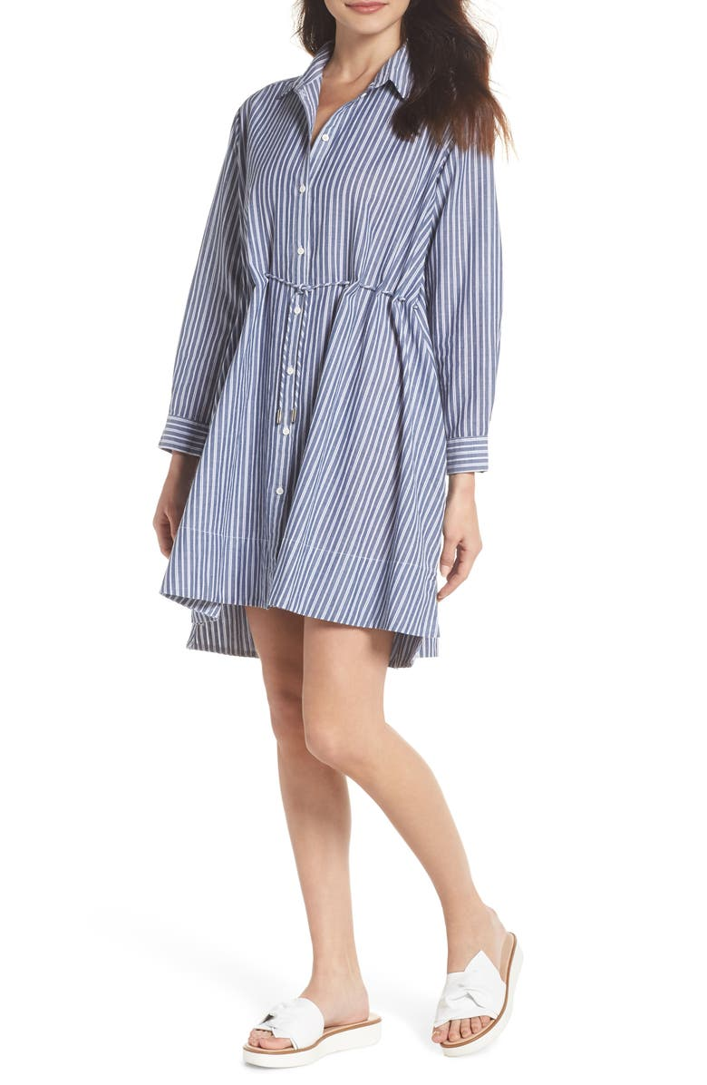 FRENCH CONNECTION Tatus Stripe Drawstring Cotton Shirtdress, Main, color, 452