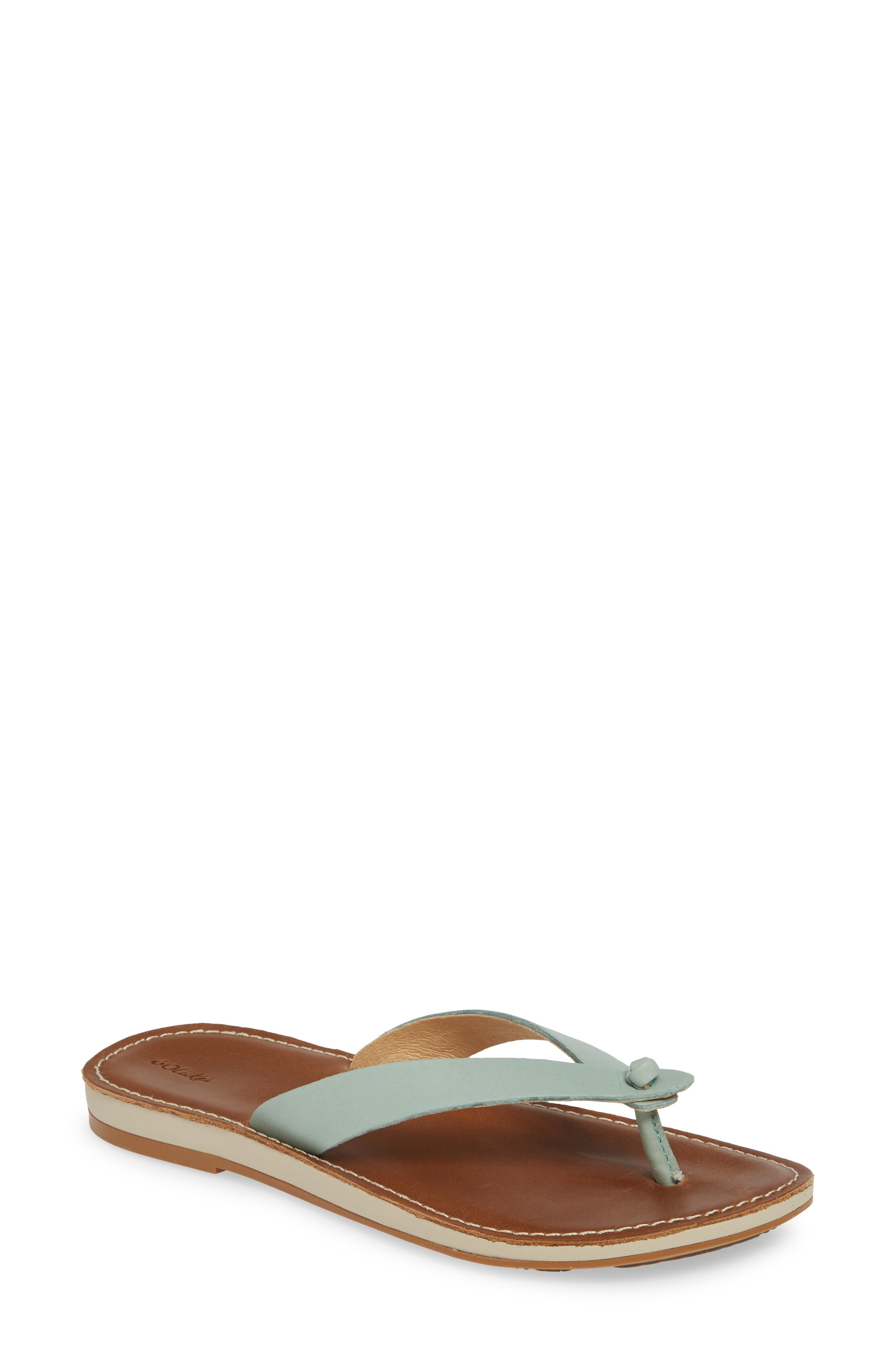 Full-grain leather straps add timeless refinement and sophistication to a minimalist flip-flop, while the anatomical insole provides all-day comfort and support. Style Name: Olukai Nohie Flip Flop (Women). Style Number: 5792990. Available in stores.