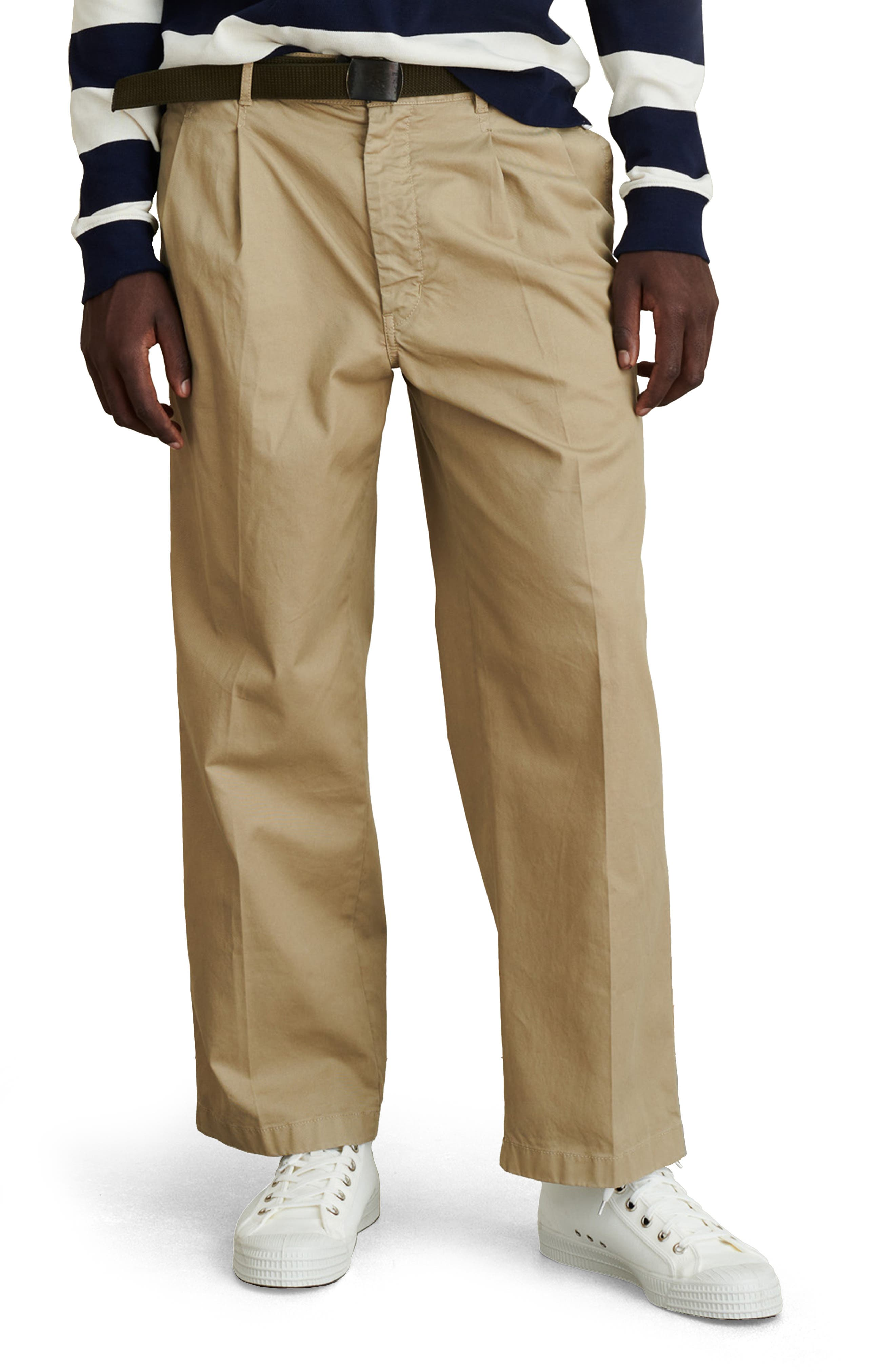 Standard Pleated Straight Leg Chinos