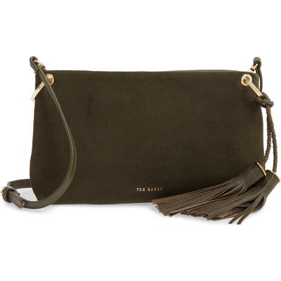 Ted Baker London Demetra Tassel Leather Crossbody Bag - Green