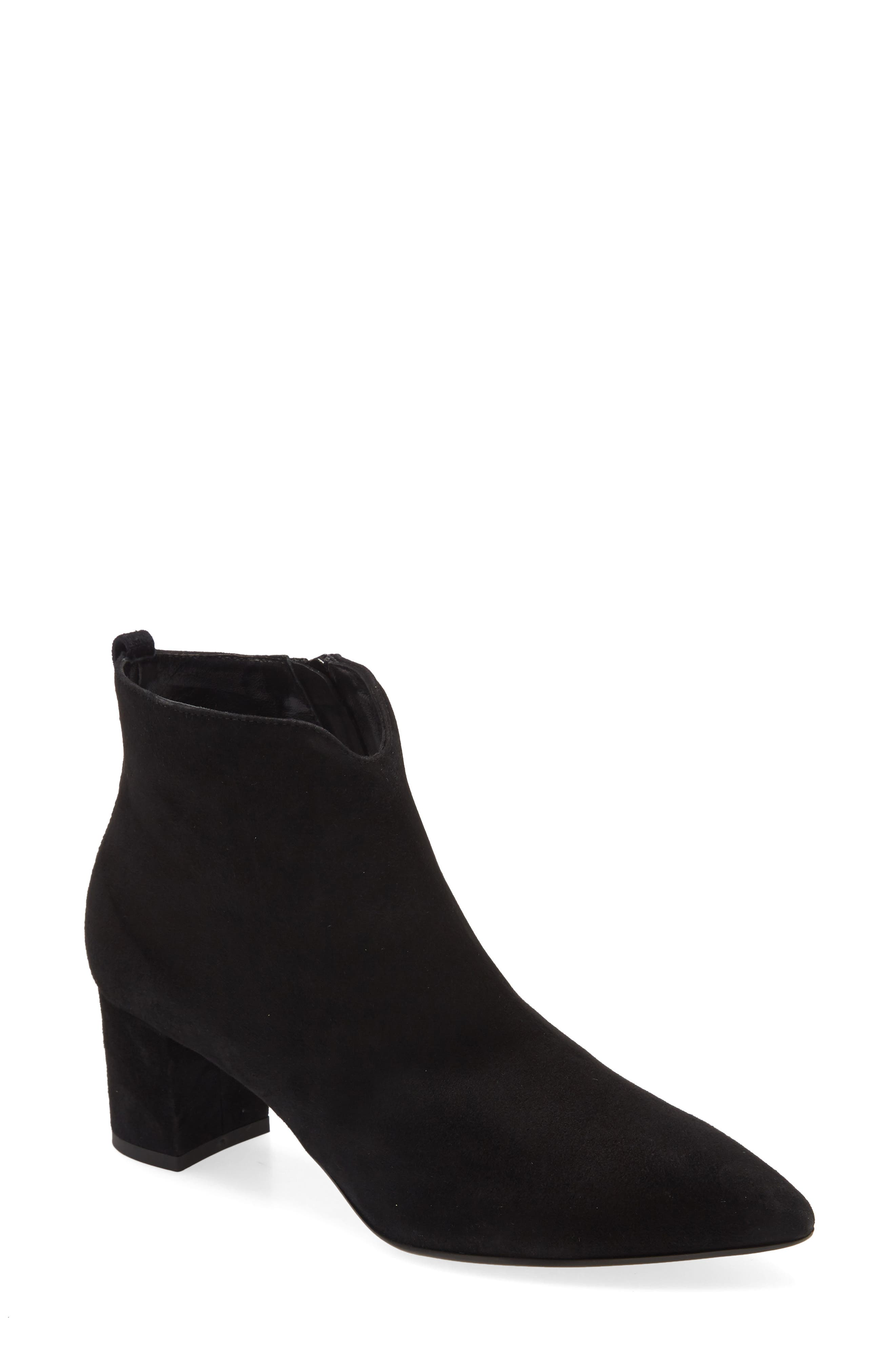 An Italian-made suede bootie with simple sophistication has a sculpted topline to flatter the ankle and a pointy toe balanced by a covered block heel. Style Name: Agl Notch Bootie (Women). Style Number: 6041814. Available in stores.