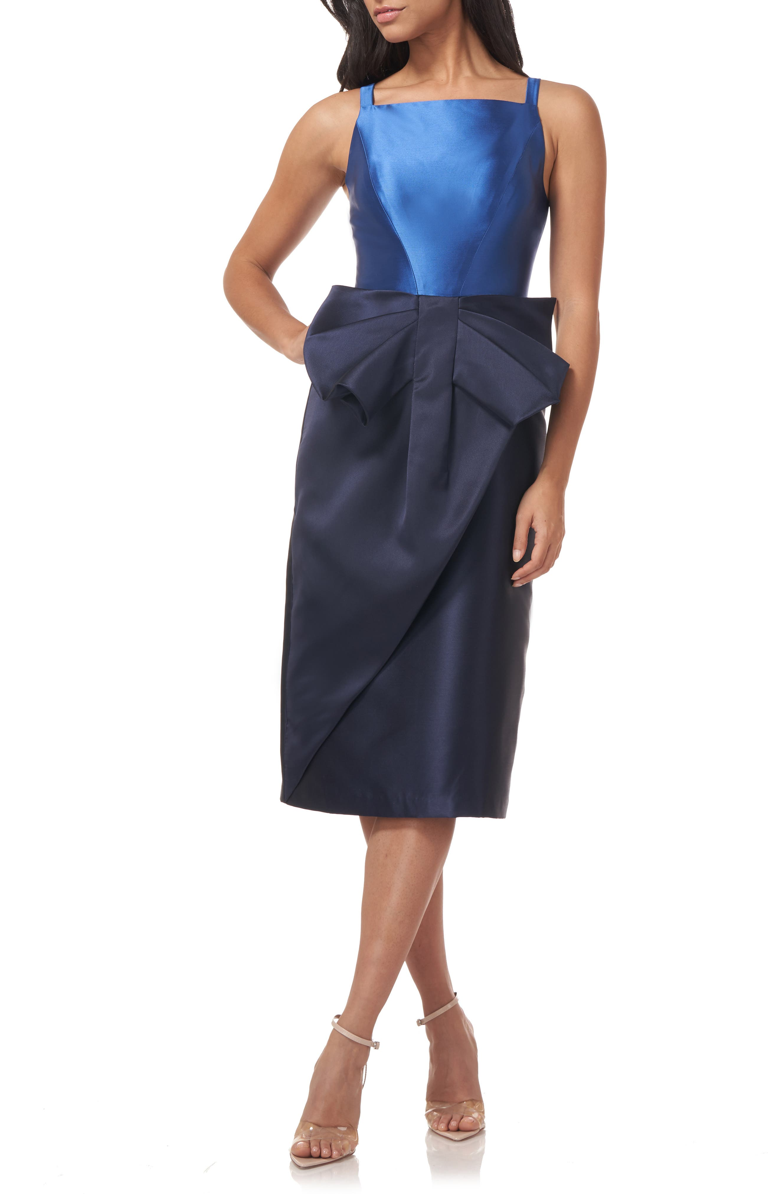 Haley Two-Tone Satin Bow Front Midi Cocktail Dress