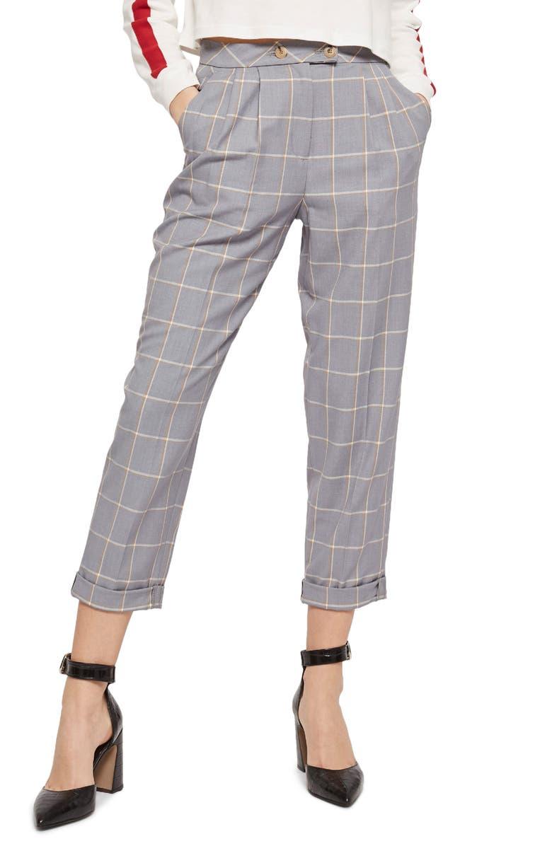 TOPSHOP Windowpane Plaid Trousers, Main, color, 020
