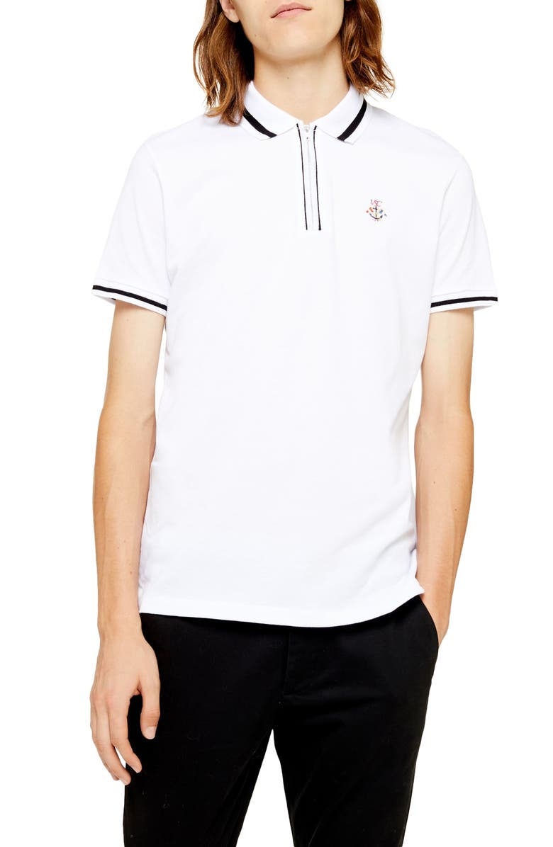 TOPMAN Slim Fit Tipped Crest Zip Piqué Polo, Main, color, WHITE MULTI