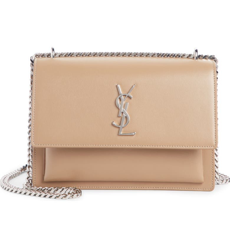SAINT LAURENT Medium Sunset Calfskin Shoulder Bag, Main, color, TAUPE FONCE