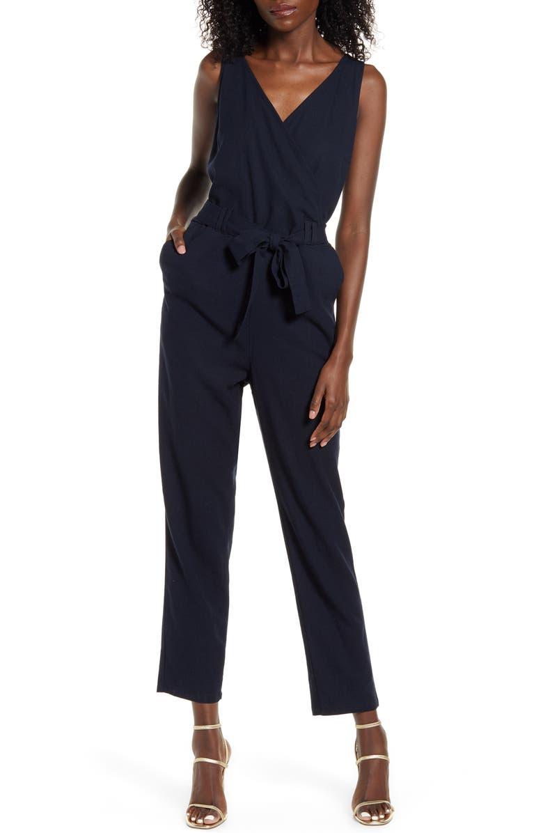 VERO MODA Helen Milo Sleeveless Tie Waist Jumpsuit, Main, color, NIGHT SKY