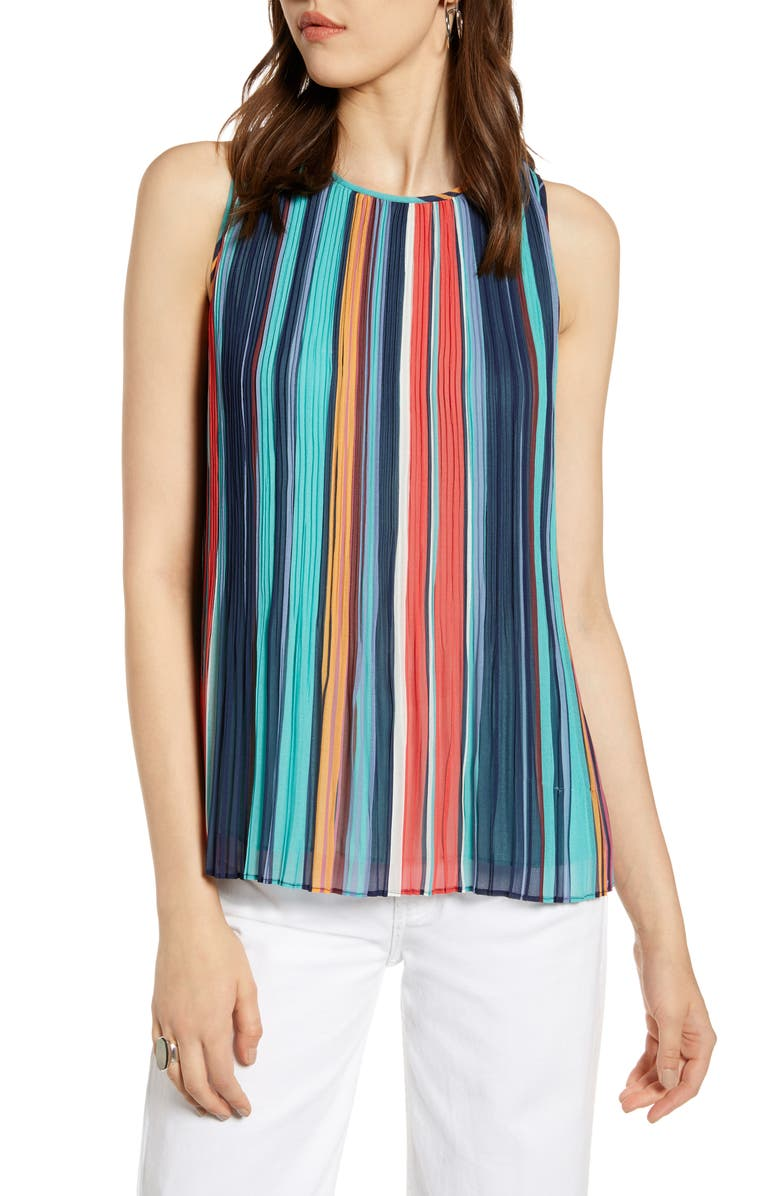 HALOGEN<SUP>®</SUP> Pleated Top, Main, color, NAVY MULTI STRIPE