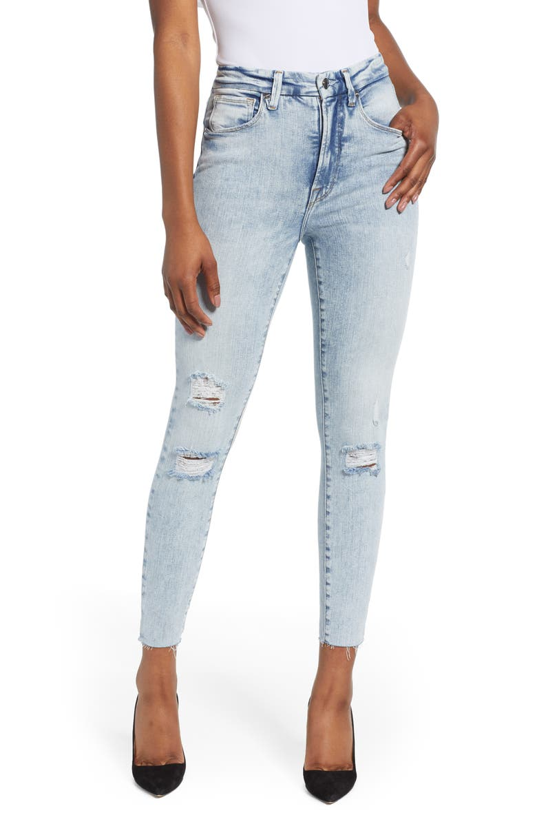 GOOD AMERICAN Good Waist Ripped Crop Skinny Jeans, Main, color, 401
