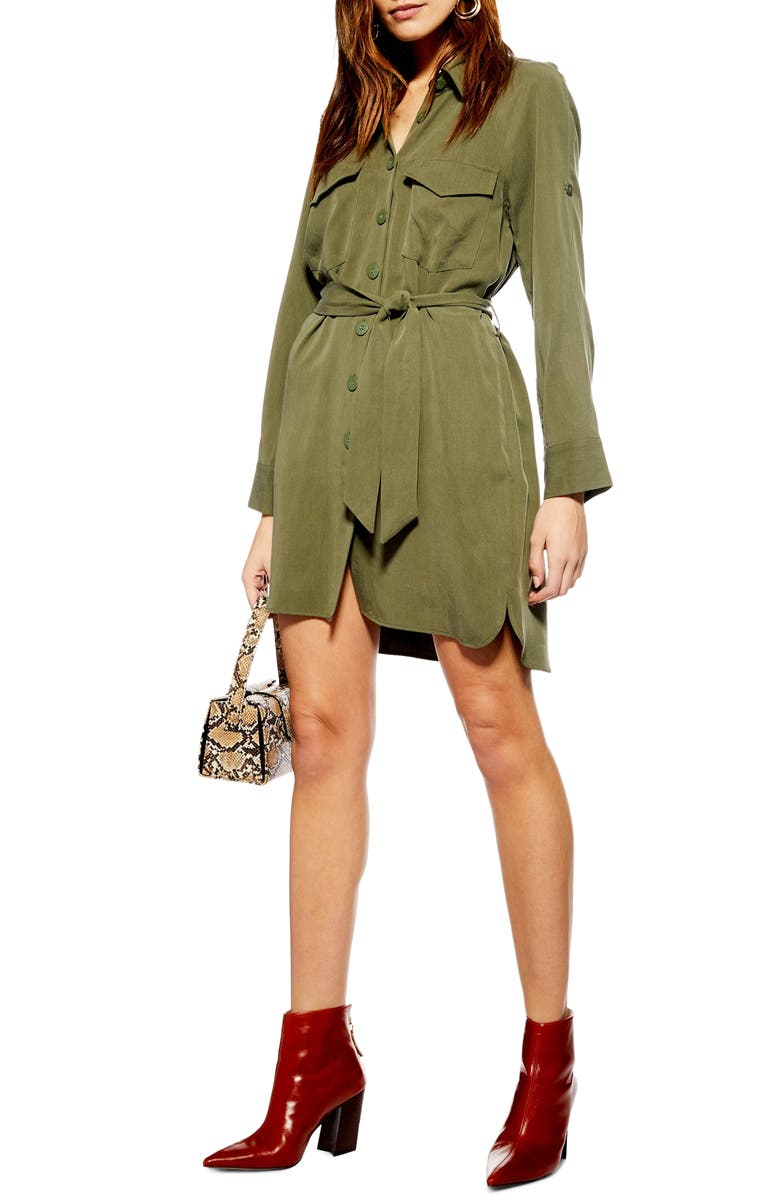 TOPSHOP Long Sleeve Utility Shirtdress, Main, color, 300