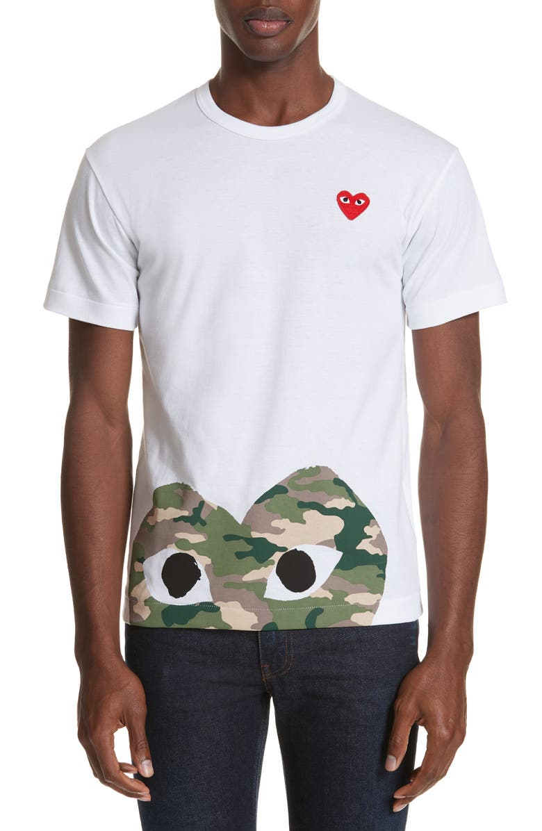 COMME DES GARÇONS PLAY Camo Peek Heart T-Shirt, Main, color, WHITE
