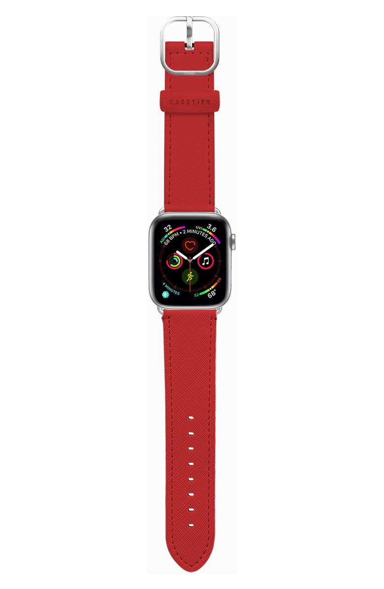 CASETIFY Essential Saffiano Faux Leather Apple Watch<sup>®</sup> Strap, Main, color, RED/ SILVER