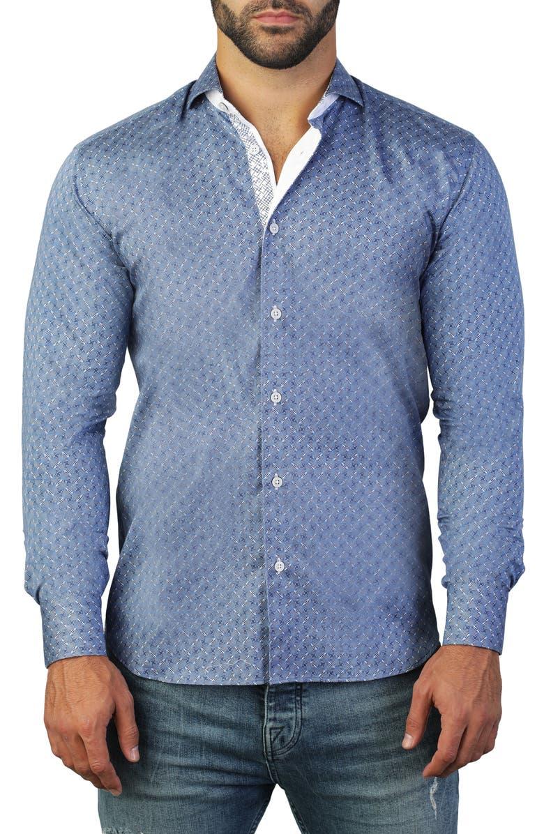 MACEOO Einstein Fan Blue Regular Fit Shirt, Main, color, BLUE