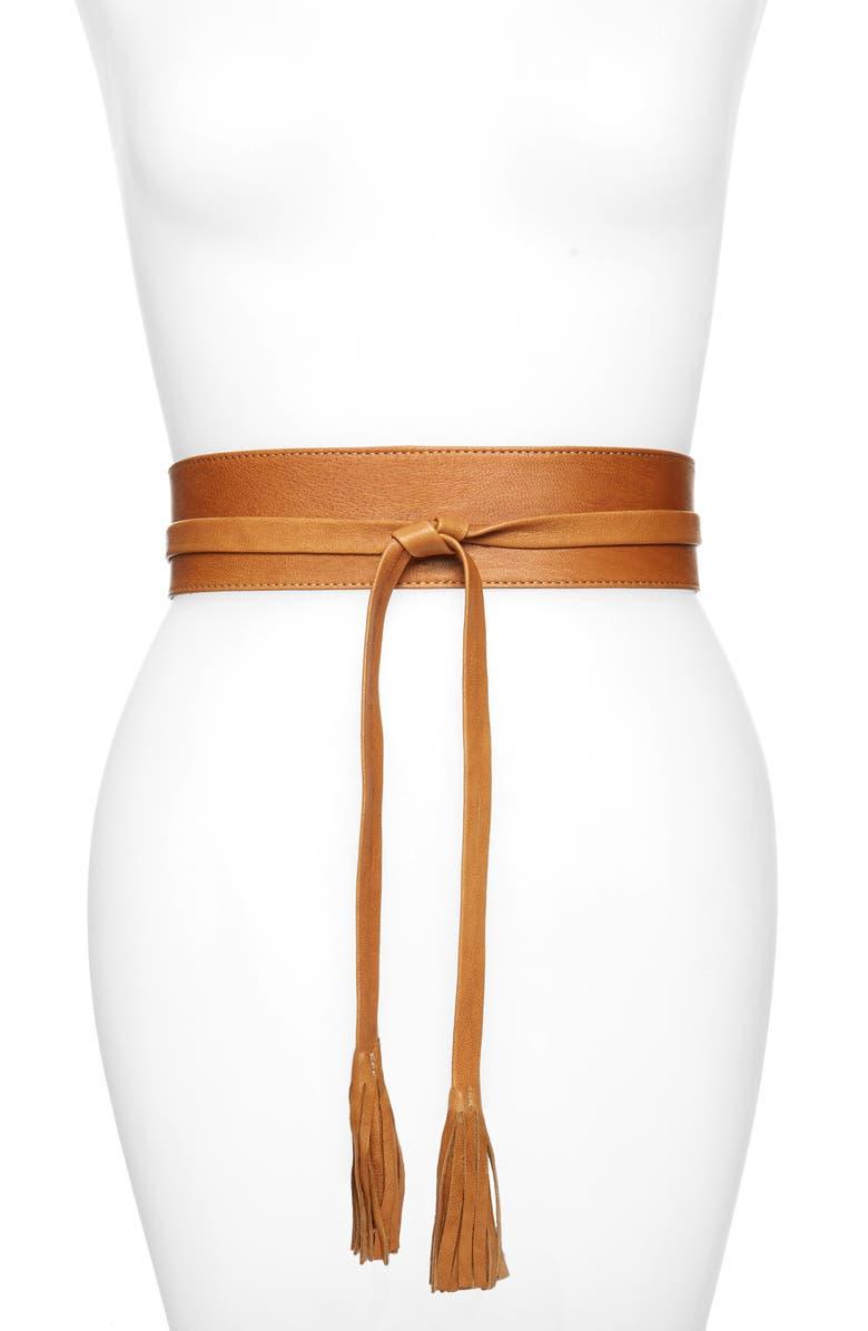 RAINA Bronco Leather Wrap Belt, Main, color, TAN