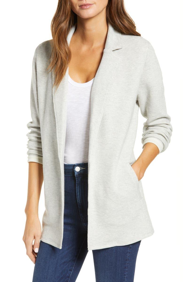 CASLON<SUP>®</SUP> Knit Blazer, Main, color, GREY HEATHER