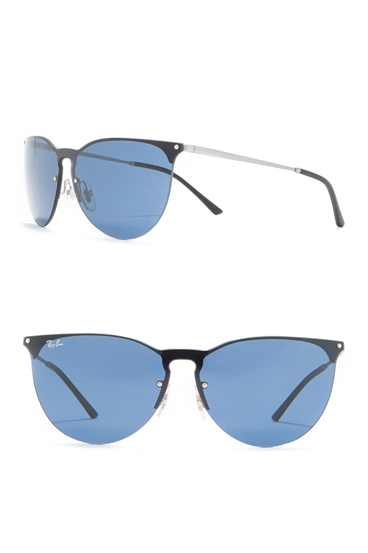 Image of Ray-Ban 41mm Phantos Rubber Aviator Sunglasses