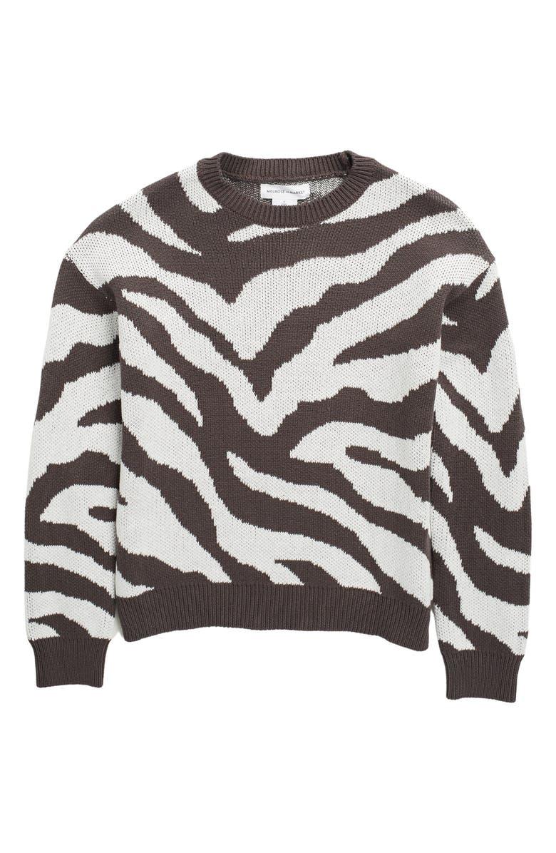 MELROSE AND MARKET Long Sleeve Animal Print Sweater, Main, color, BLACK RAVEN- IVORY ZEBRA