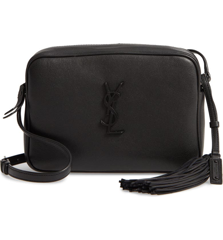 SAINT LAURENT Lou Calfskin Leather Camera Bag, Main, color, NOIR