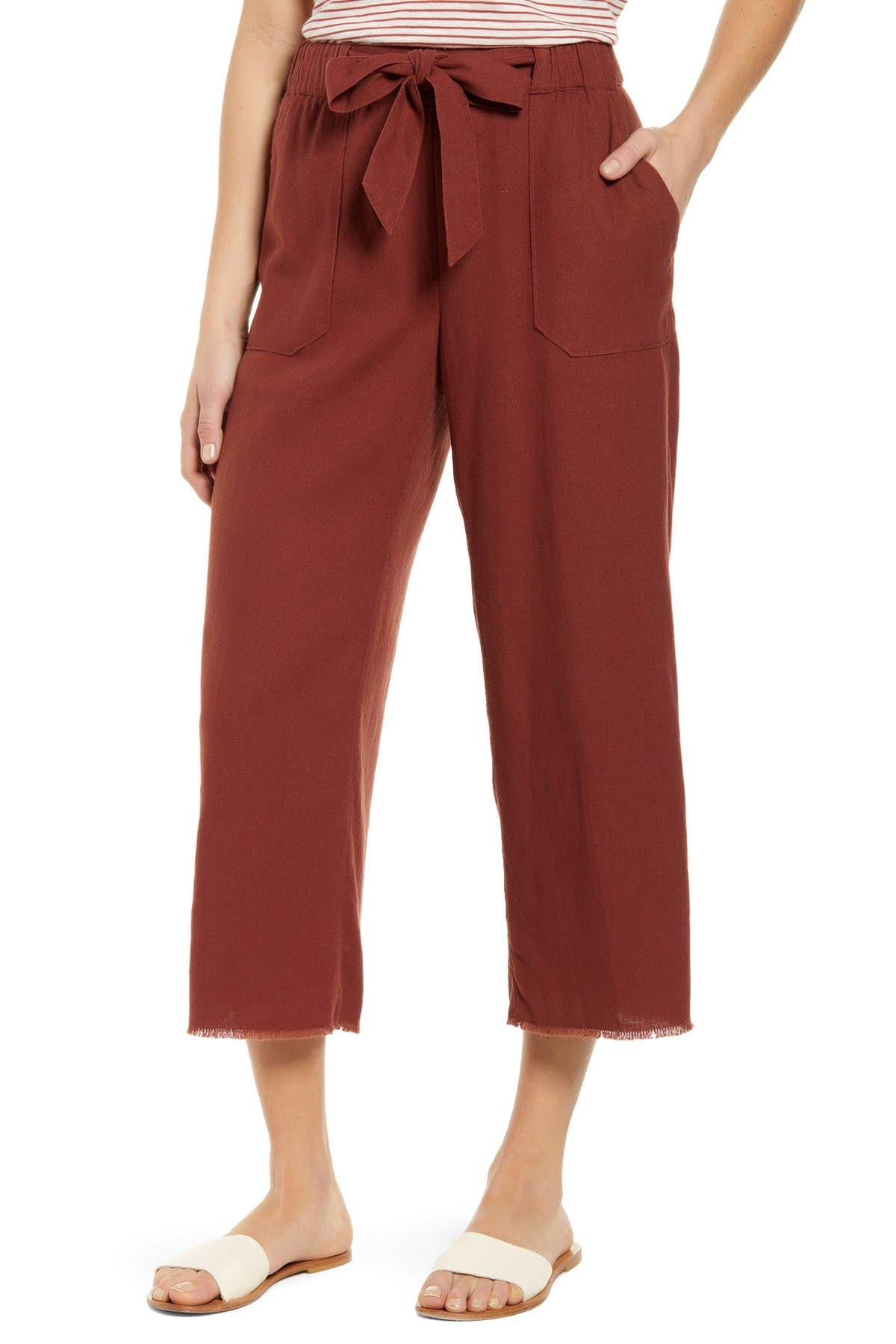 Image of Caslon Crop Linen Blend Pants