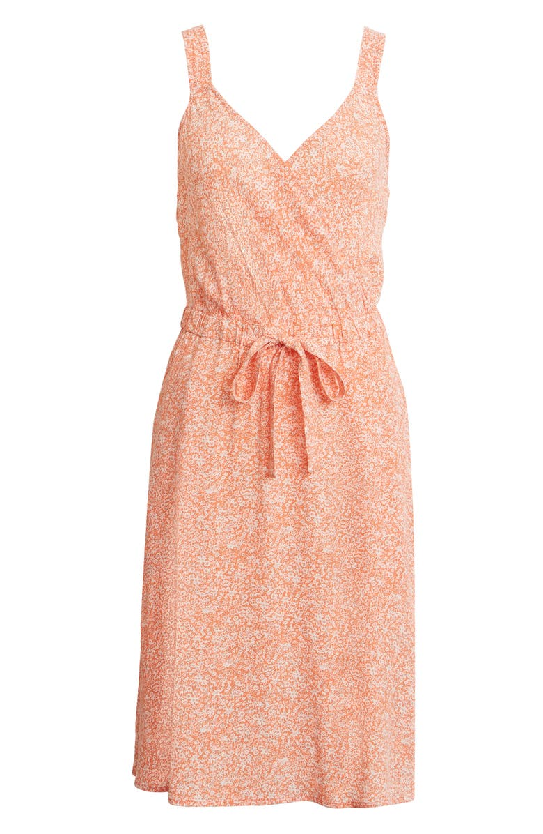 TREASURE & BOND Sleeveless Tie Waist Dress, Main, color, ORANGE- PINK OXFORD FLORAL