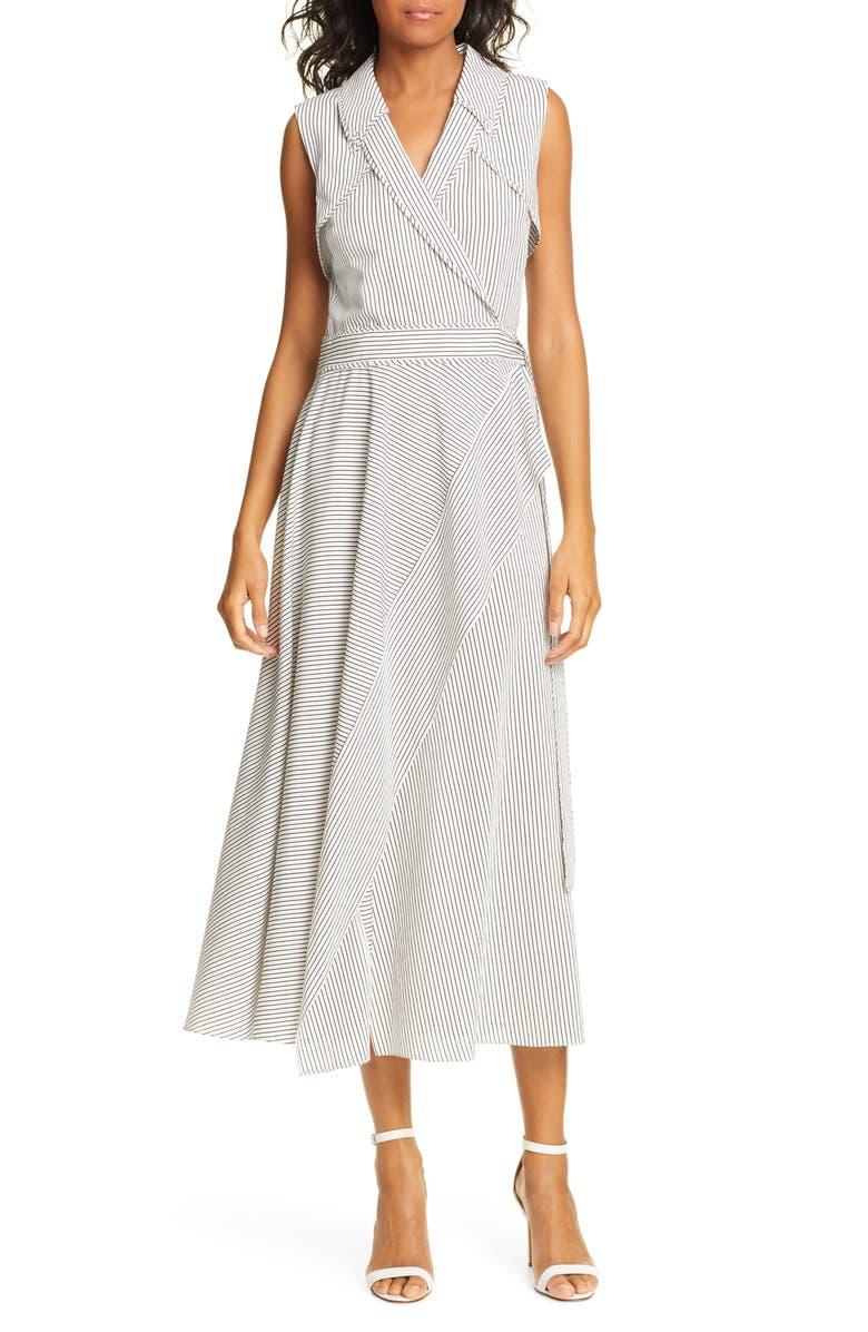 DVF Charleigh Midi Wrap Dress, Main, color, WHITE/ WHITECAP/ BLACK