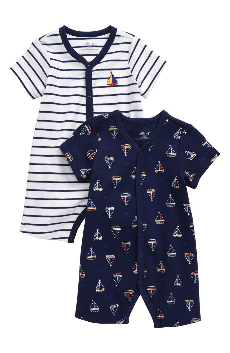 LITTLE ME Sailboat 2-Pack Rompers, Main, color, BLUE