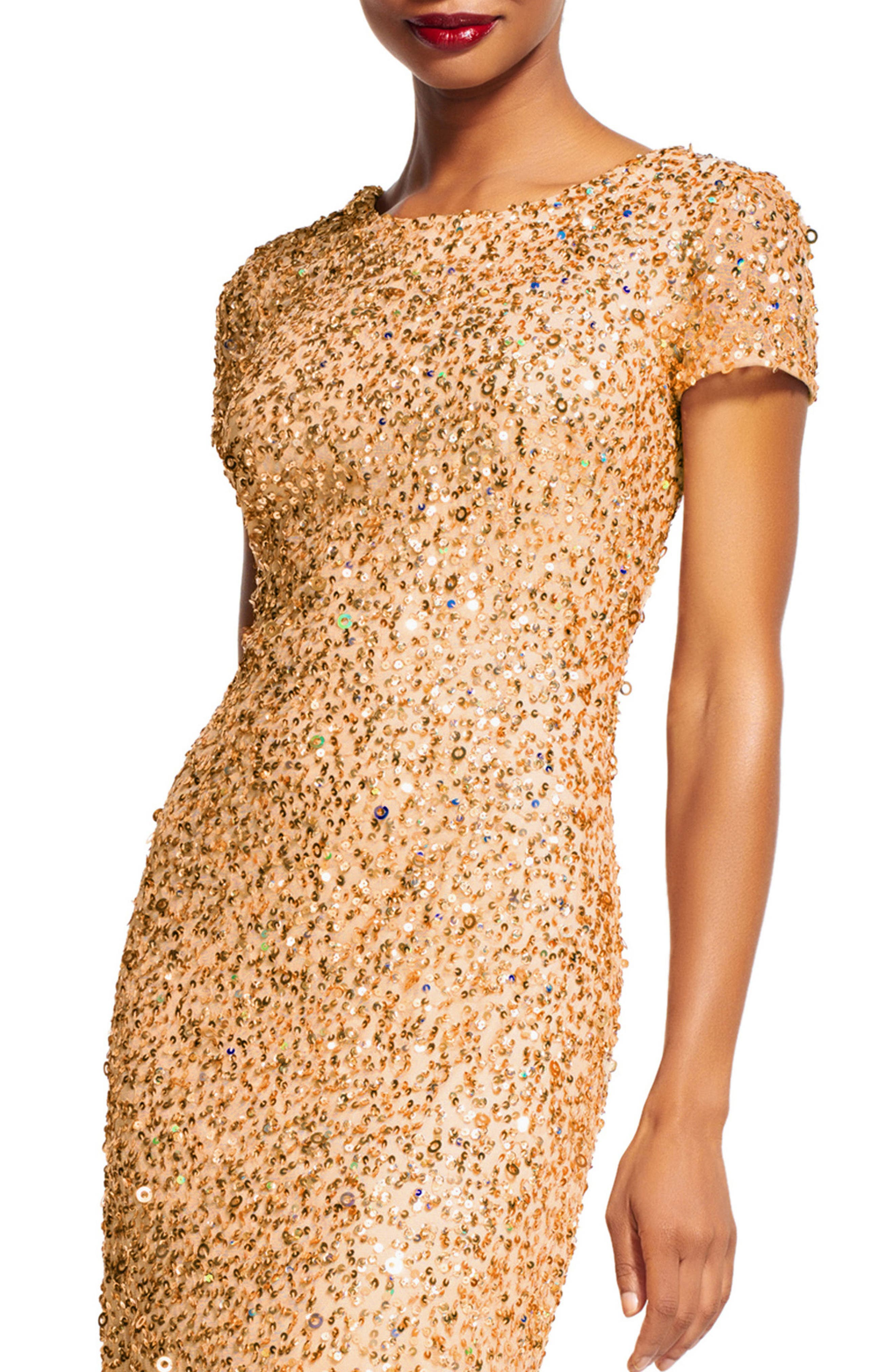 ,                             Short Sleeve Sequin Mesh Gown,                             Alternate thumbnail 25, color,                             298