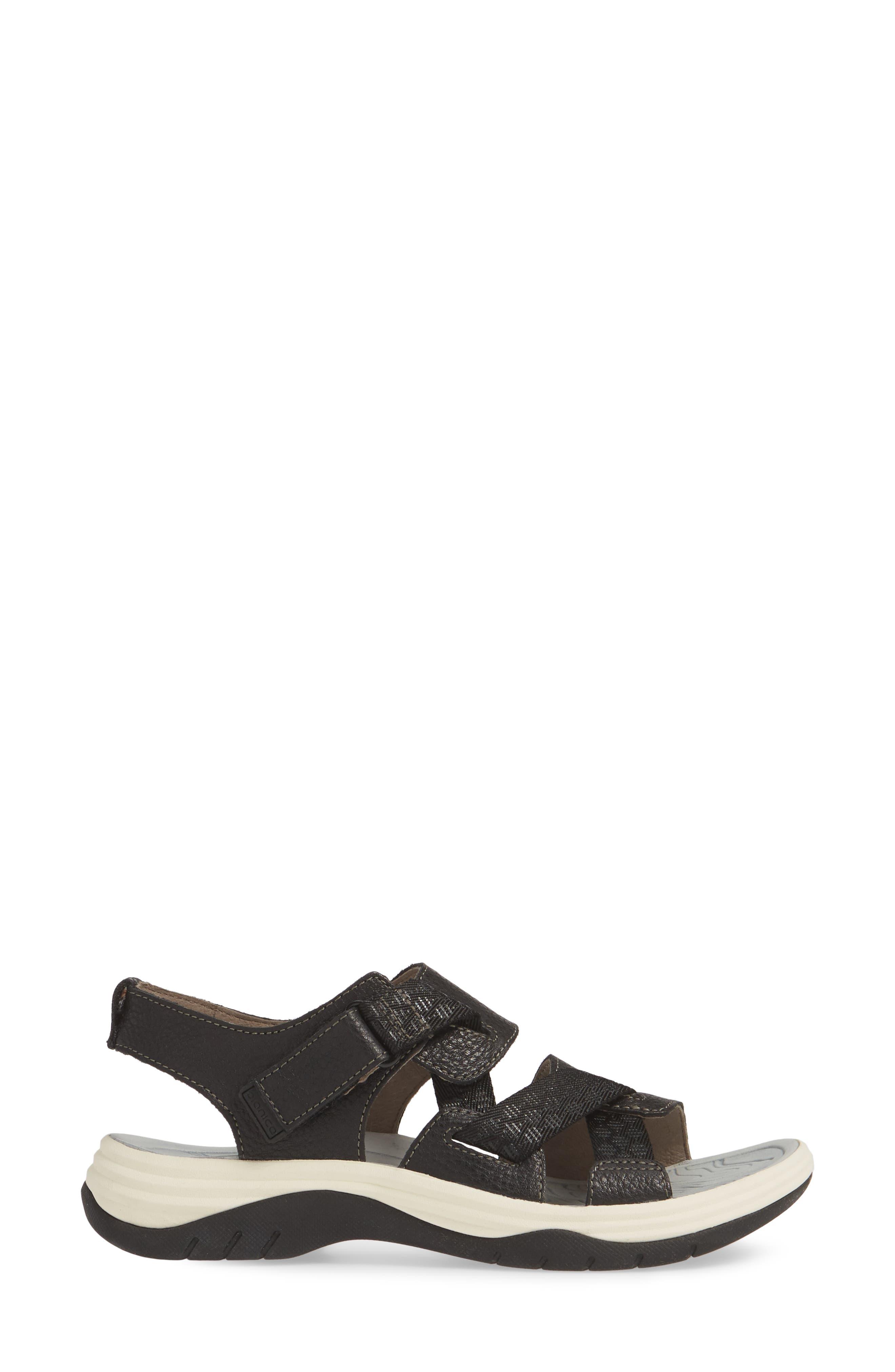 ,                             Nahla Water Friendly Sandal,                             Alternate thumbnail 3, color,                             BLACK LEATHER