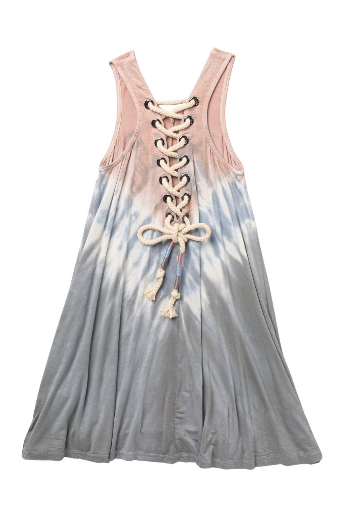 Vintage Havana Combo Lace-Up Dress