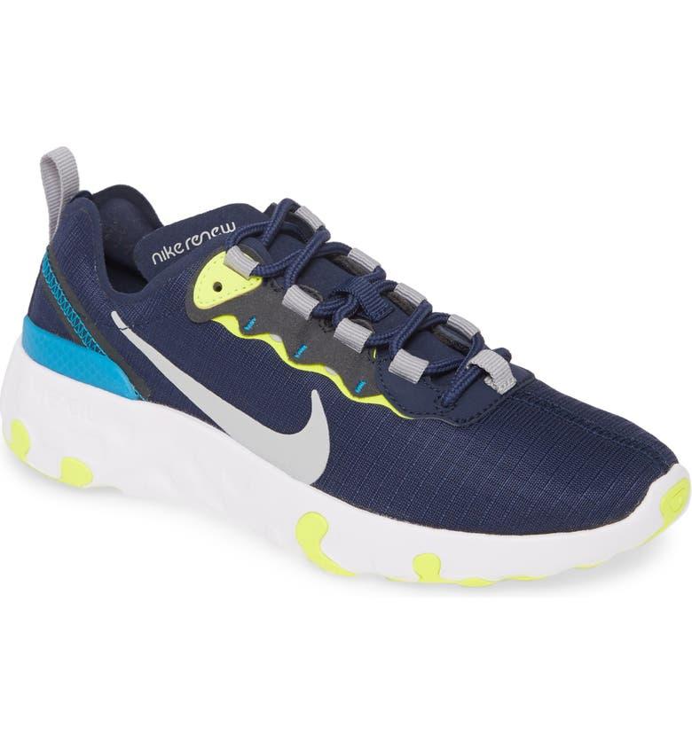 NIKE Renew Element 55 Sneaker, Main, color, MIDNIGHT NAVY/ GREY/ LEMON