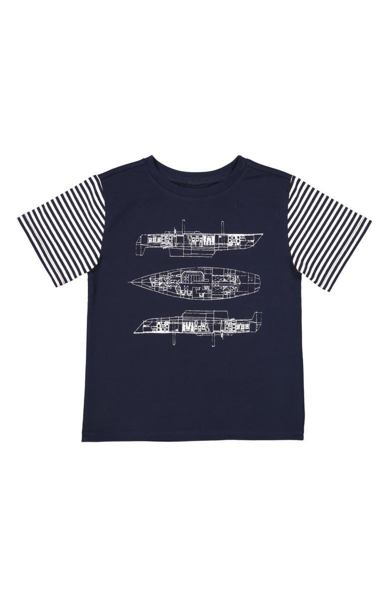 ANDY & EVAN Blueprint T-Shirt, Main, color, NAVY