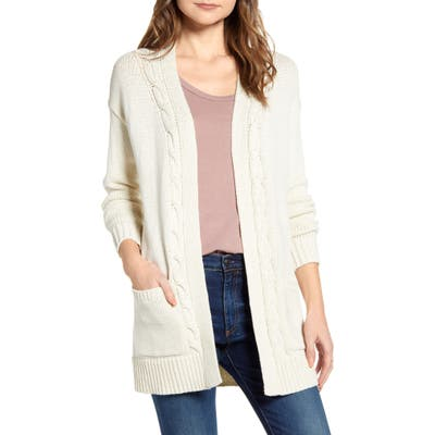Lucky Brand Cable Accent Cotton Blend Cardigan, Beige