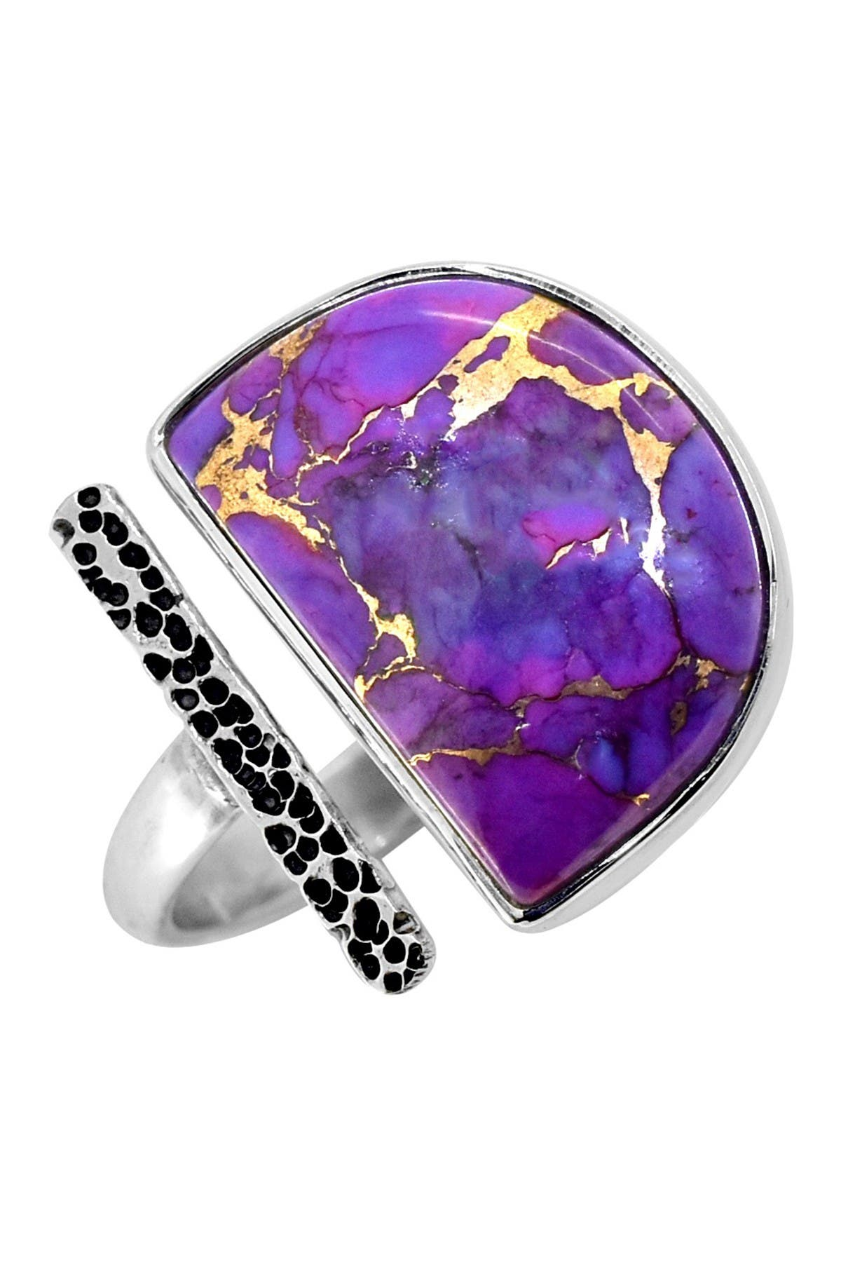 Image of Nitya Purple Copper Turquoise Hammered Bar Sterling Silver Ring
