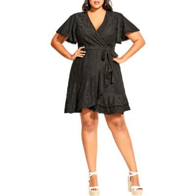 Plus Size City Chic Lace Faux Wrap Minidress, Black